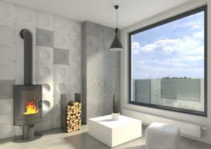 Panele Sguares w wizualizacji salonu, Na jednej ścianie ogromne okno, na drugiej kominek. Ściana kominka obłożona w całości panelami Suares pomalowanych losowo na kolor biały i szary.