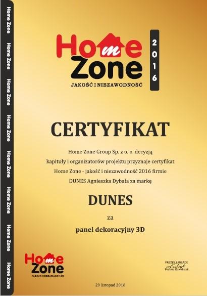 Certyfikat Home Zone