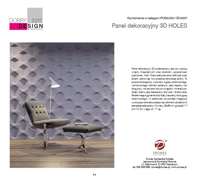 Holes - panel wyróżniony w konkursie Dobry Design 2017